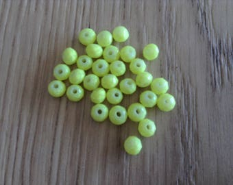Green/yellow x 30 faceted rondelle glass beads