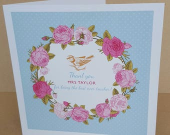 Personalised Thank You  Teacher Vintage Roses Card Extra Large