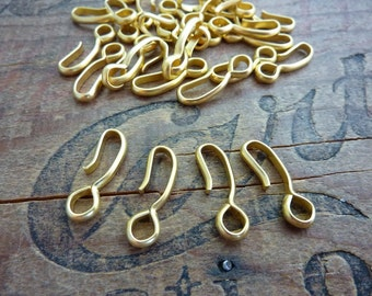 10 Russian Gold Plated Hook Style Clasp End