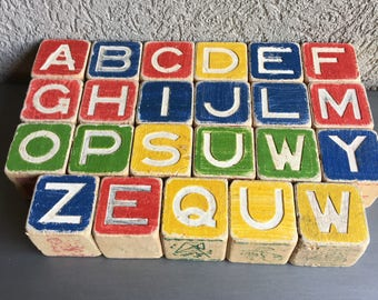 Childrens Alphabet Wood Blocks Vintage Wooden Letters - #M1015