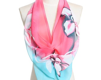 Womens Scarf, Red Scarf, Light Blue Scarf, Floral Print Scarf, Fashion Scarf, Chiffon Scarf, Voile Scarf, Cotton Scarf, Womans Scarf