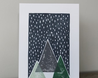 A5 Lino Print -Snowy Mountains Grey and Green