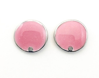 1 pair (2 pieces) of enamel post earrings findings with back stoppers, 14mm #FIN E 024