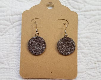 Genuine Leather Dot Earrings in Metallic Gunmetal