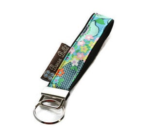 Key Fob Wristlet - Key Chain Wristlet - keychain - keyfob - READY TO SHIP - Sea Flowers Fabric