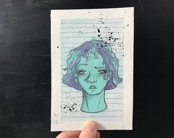 "4""x6"" Original Art, Portrait Painting on Paper - Blue and Purple Mixed Media Art - Mini Painting Portrait, One of a Kind Art"