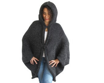 Plus Size Hand Knitted Wool Hooded Poncho, Hooded Pelerine, Tim Burton Inspired
