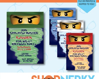 PRINTABLE Ninja Party Invitation | Available in White, Green, Red and Blue