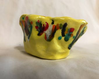 Handmade Ceramic Pinch Pot Glazed with Crystal Accents