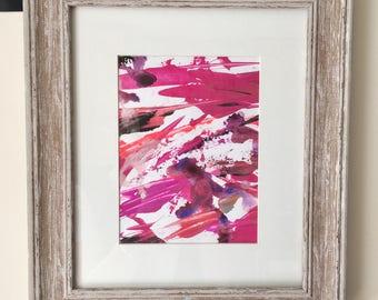 Original Mixed Media Framed Painting Pink Small
