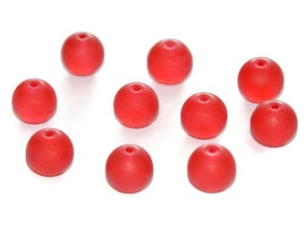 10 red beads, frosted glass 10mm