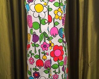 Vintage 60's Mod Flower Power Shift Dress B38