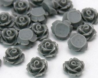 20 Pcs - 10mm Grey Rose Cabochons