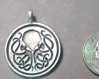 Aged Pewter Inverse Cthulhu pendant.