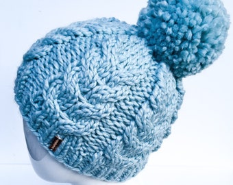 Chunky Cable Knit Hat, Knit Hat, Cable Knit, Knit Slouchy Hat, Winter Hat, Women's Hat, Gifts under 30, Pom Pom, Pale Blue, Glacier