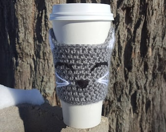 Cat Coffee Cup Cozy, Animal Cup Cozy, Cat Lover Gift, Birthday Gift, Crochet Cup Cozy, Cup Warmer, Kitty Cup Cozy, Crochet Coffee Cup Sleeve