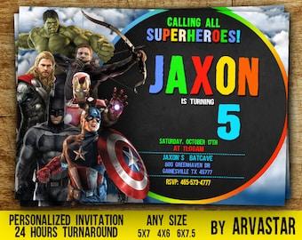Avengers Birthday Invitation, Avengers Birthday, Superhero Invitation, Avengers Party, Avengers Party favors, Avengers Invite, Boy Birthday