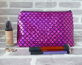 Mermaid scales makeup bag, mermaid, scales, dragon scales, large makeup bag,gift for her, christmas gift, gift for her, birthday gift, cute