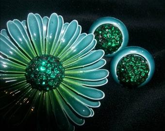 Vibrant Emerald Green Crystal Enamel Flower Brooch Earrings 3-D Layered Teal Blue Green Enamel Glass Porcelain Fabulous Vintage 1950's 60's