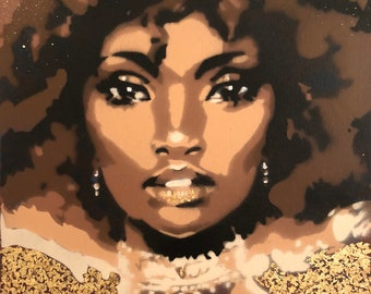 Unique painting, Stencil art and gold flakes, Beautiful afro girl