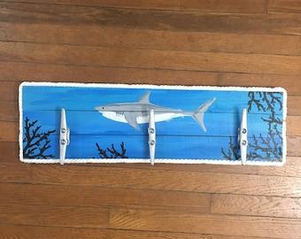 Shark Cleat Rack, Nautical Cleat Rack, Patio Hooks, Dock Cleat Rack, Coastal Decor, Pool towel hooks