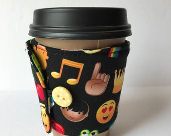Coffee Cozy   Emoji Fun Coffee Cup Sleeve   Reusable Coffee Sleeve    Reusable Sleeve
