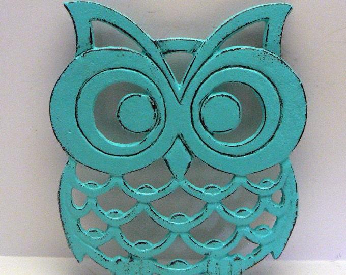 Cast Iron Owl Trivet Turquoise Shabby Chic Woodland Kitchen Hot Plate Home Decor