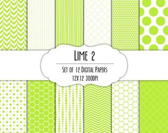 Lime Green 2 Digital Scrapbook Paper 12x12 Pack - Set of 12 - Polka Dots, Chevron, Hexagon - Instant Download - Item# 8101