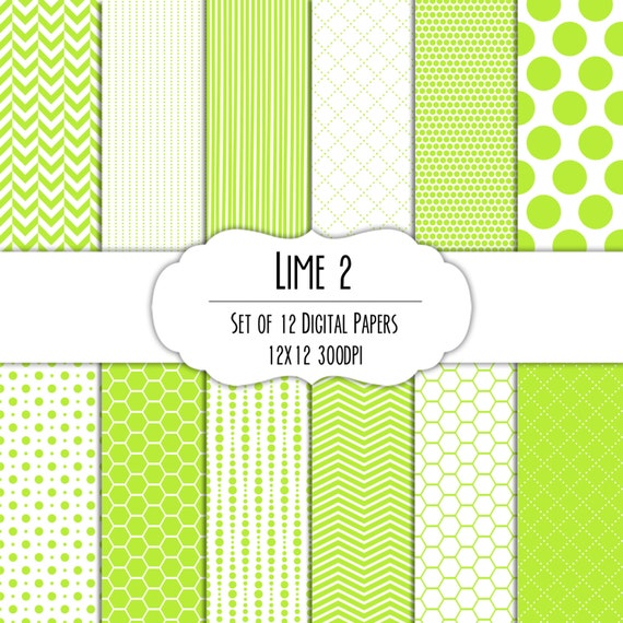 Lime Green 2 Digital Scrapbook Paper 12x12 Pack Set Of 12 Polka