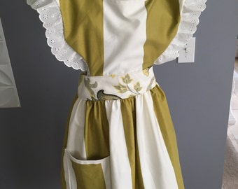 Vintage Apron, Full length apron, Chef Apron, Woman Apron, Pinafore