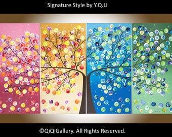 "Large abstract art Original artwork gift for couple wall art canvas art four seasons tree ""365 Days of Happiness"" by qiqigallery"