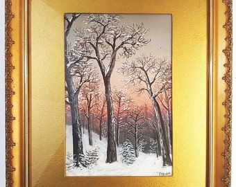 Signed and Framed Landscape Painting of a Winter Forest at Sunset