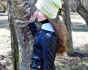Green slouchy beanie for women, surf beanie, sun hat, sports hat, vegan hat