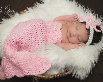 Pattern- Crochet Newborn Mermaid Outfit with Starfish Headband, Crochet Newborn Baby Pink Mermaid Set with Pearls