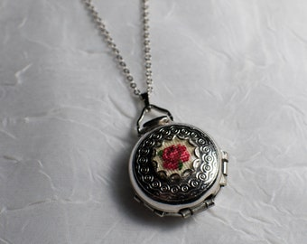 Petit Point Vintage Silver Four-Way Locket with Red Rose