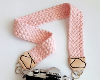 Camera Strap with Braided Peach-pink Fabric Yarn, Natural Leather Ends & Black Stitching, Modern and Comfortable Woven Jersey Strap for dslr