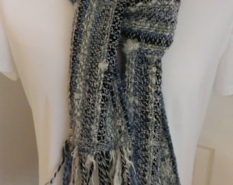 Handwoven, handspun,long scarf in blues & white