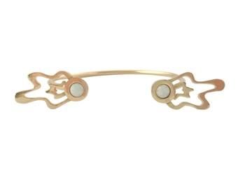 Splatter Open Cuff Bracelet with Opal