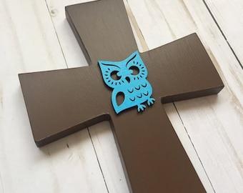 Owl Wall Cross, Owl Nursery Wall Art, Christian Baby Gift, Baby Dedication Gift, Owl Always Love You, Baptism Decorative Crosses