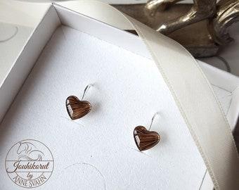 Sterling silver horse hair earrings, heart shape