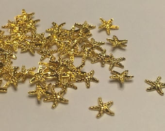 20 pieces of gold metal Starfish nail decor, 4 mm (S11/2)