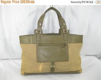 15% SUMMER SALE Vintage genuine GUCCI olive canvas and leather trim satchel  bag with front pocket 90s distressed