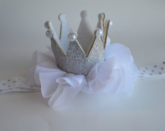 Silver and White Baby Crown Headband - SIlver Crown Headband - SIlver Glitter Crown - Princess Crown - First Birthday Headband - Photo Prop