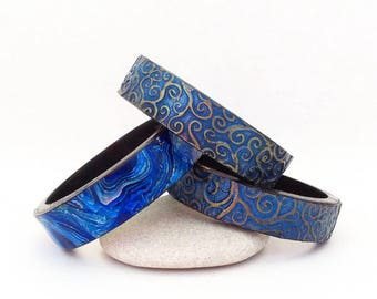 Polymer clay jewelry Blue bracelet set Polymer clay bangle Exclusive Polymer Clay Bracelet Bangle Birthday Gift Author technique Best gift