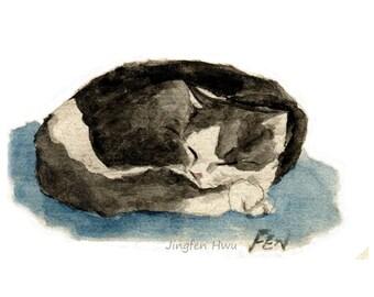 "cat art  ""A Sleeping Tuxedo Cat"" cat room wall painting decor print nursery room, sleeping cat painting, A4 print, 8x10 print 6x8"