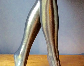 90s Metalic Silver Tights  Shiny Glossy Platinum Leggings with Feet Luster Gold Leggings With Seams, Tights with Seams Disco Metal Clothing