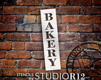 Bakery - Farmhouse Serif - Vertical - Word Stencil - Select Size - STCL1954 - by StudioR12
