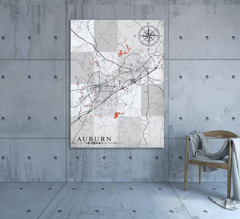 AUBURN AL Canvas Print AL Alabama Vintage map Auburn al City