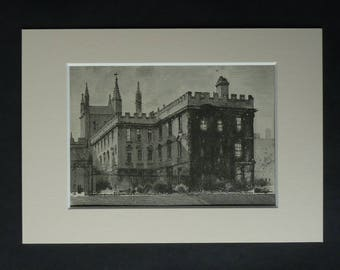 1880s Antique Mounted Architectural Picture of New College Oxford University
