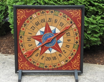 Roulette, Game Board, Wood, Hand Painted, Folk Art, Primitive, Wooden, Game Boards, Wheel of Chance, Game Room, Card symbols, Wall Hanging